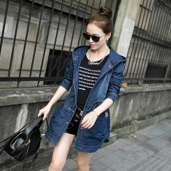 秋装新款韩版女装连帽长袖牛仔风衣外套