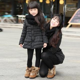 韩版亲子装家庭装冬装女童童装棉?#24405;?#21402;围脖母女装