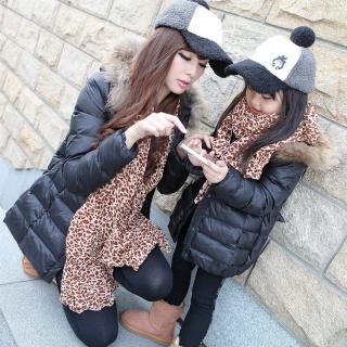 秋冬韩版修身时尚超大真毛领亲子中长款羽绒棉衣