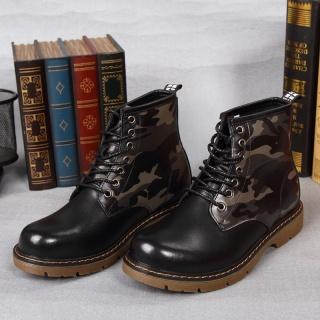 秋冬马丁靴男士迷彩军靴作战靴高帮工装靴耐磨鞋子