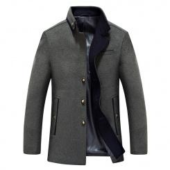 博纳罗蒂新款男式毛呢大衣风衣 韩版翻领拼接中长款男装呢外套潮
