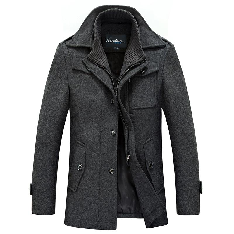 博纳罗蒂秋冬新款男式毛呢大衣 中长款加厚双领休?#24515;?#35013;外套男潮