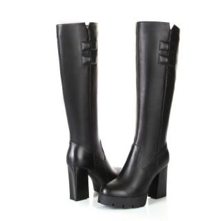 秋冬新款粗高跟真皮女靴欧美大牌长筒舒适瘦腿蝴蝶结骑士靴