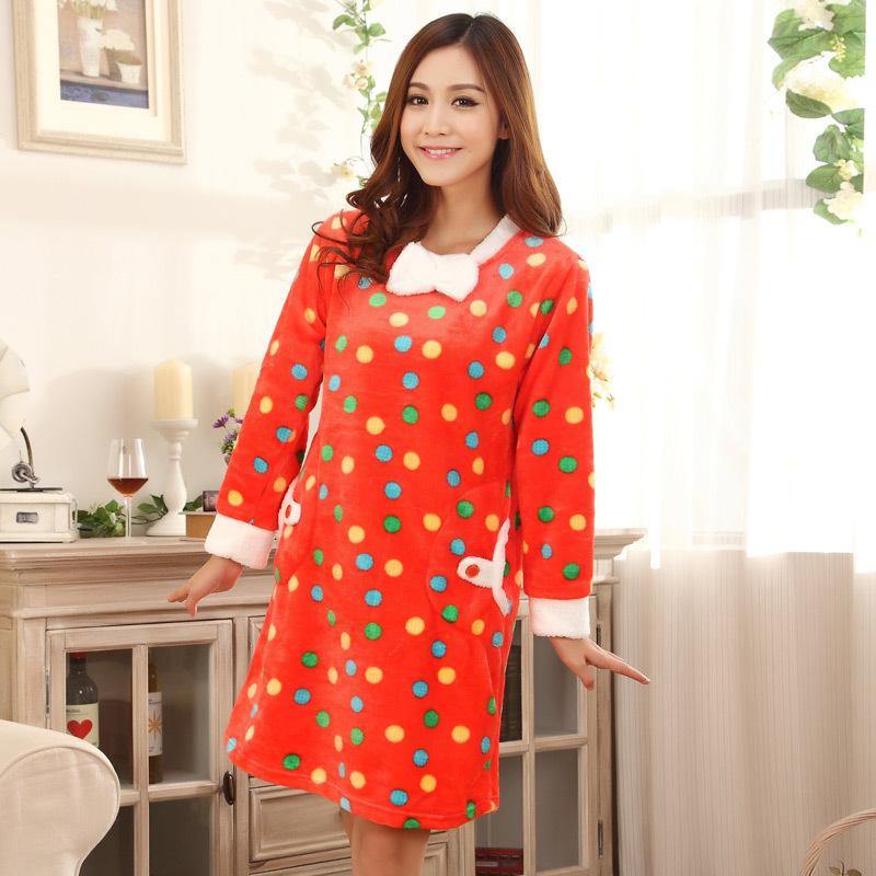 新款秋冬女士法兰绒睡衣 冬季套头少女长袖睡袍家居服套装