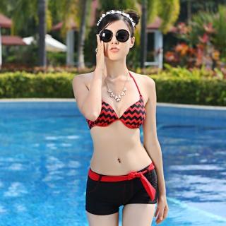 艾尼芙瑞钢托聚拢胸平角比基尼女游泳衣bikini
