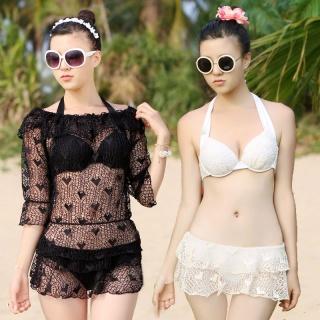 韩国泳装网眼罩衫钢托聚拢分体比基尼3件套女泳衣bikini