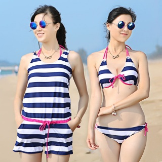 韩海军条纹泳装钢托聚拢胸显瘦连体比基尼3件套女游泳衣