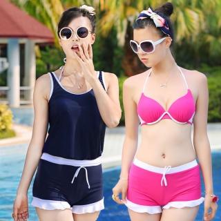 钢托聚拢小胸显瘦分体平角比基尼4件套女游泳衣温泉泳装