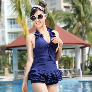 韩国新连体裙式平角泳装钢托聚拢胸遮肚显瘦女游泳衣