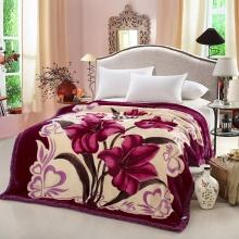 精品茄紫拉舍尔绒毛毯