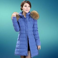 冬季新款 长款女式羽绒服女款 爆款 貉子毛领韩版