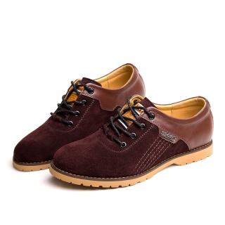 新款韩版?#34892;?#30382;革拼接反绒布男士单鞋