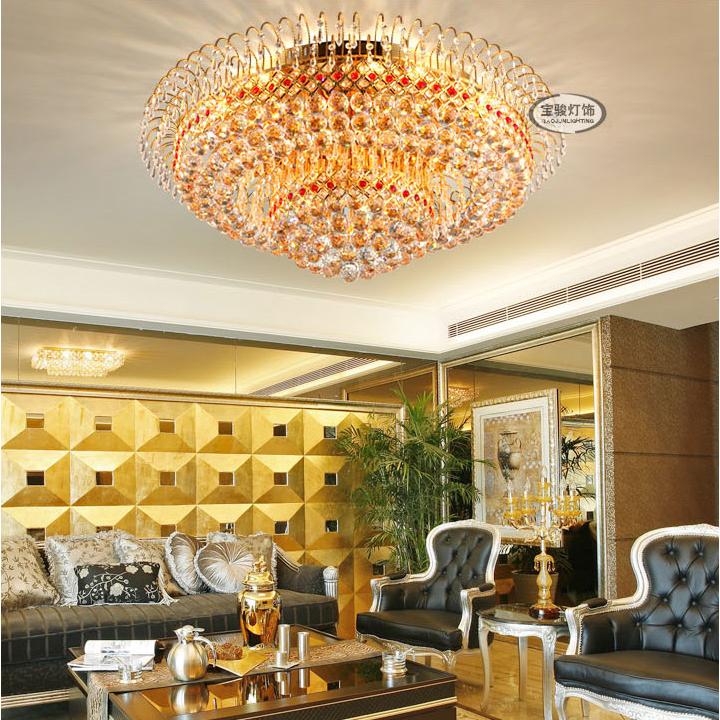 金色led水晶燈客廳圓形照明大廳燈飾具
