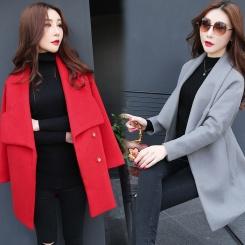 冬装毛呢外套女式呢子大衣 西装式大衣 修身