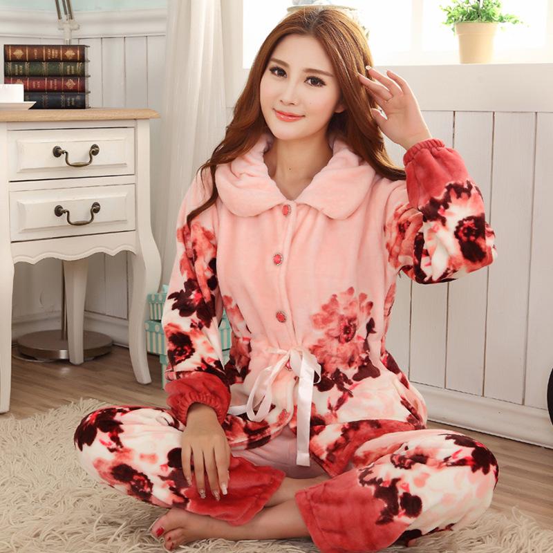 爆款 红色水墨画法兰绒睡衣 女士长袖保暖珊瑚绒家居服套装女