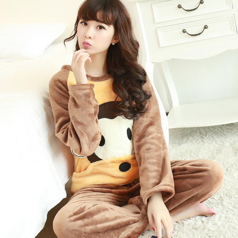 秋冬季珊瑚绒睡衣女长袖加厚款可爱卡通冬天法兰绒家居服套装