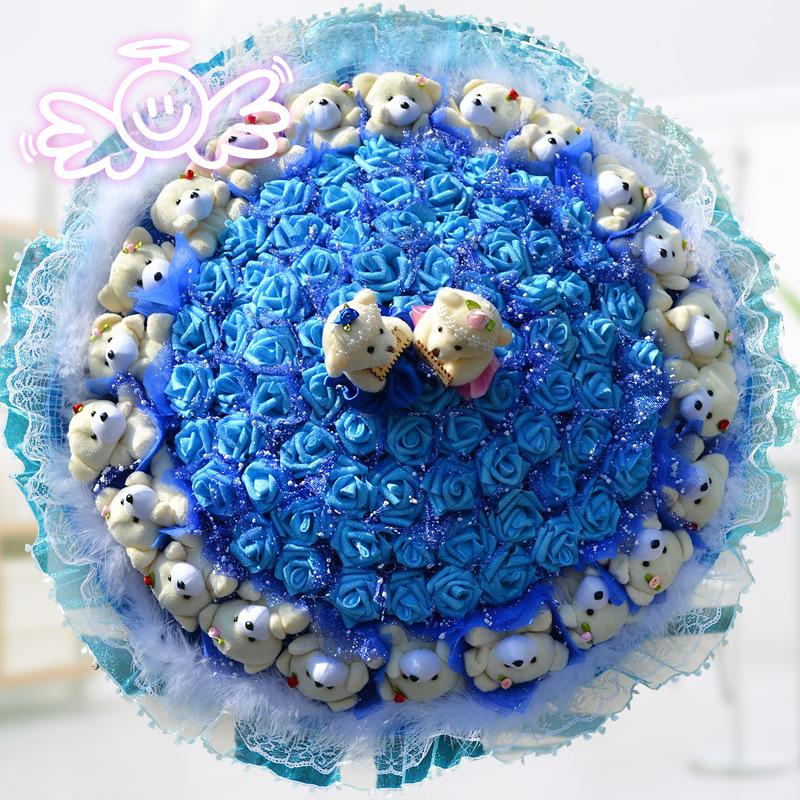 蓝豪华 仿真玫瑰花 卡通花束