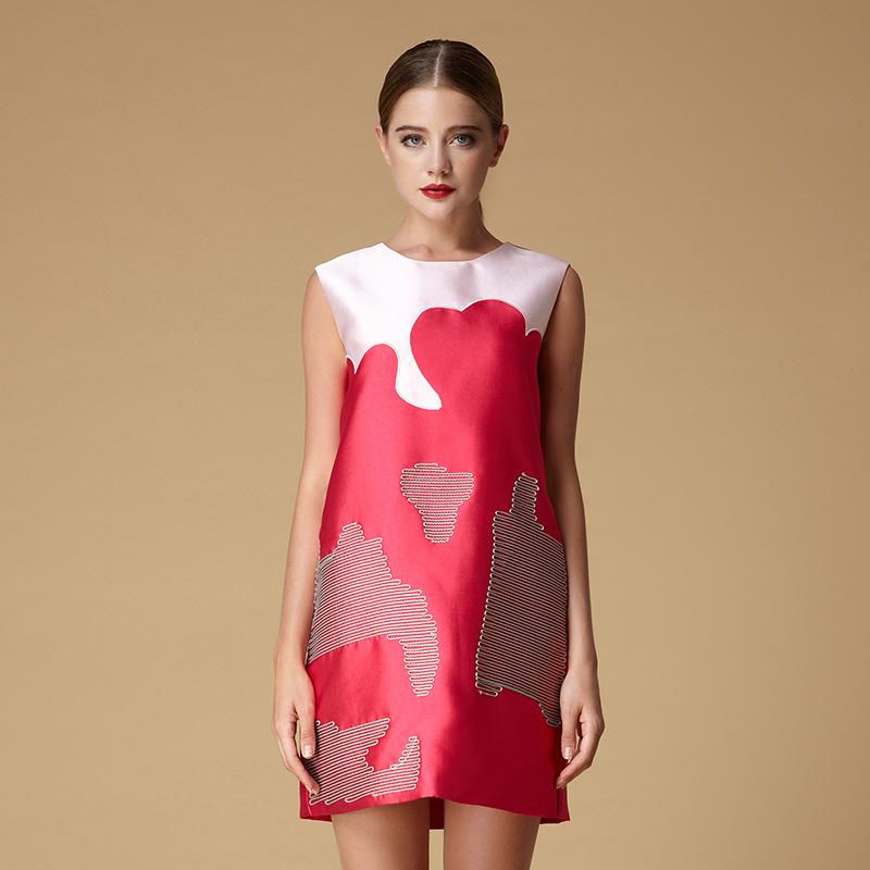 秋季连衣裙 欧美高端 时尚廓形无袖连衣裙