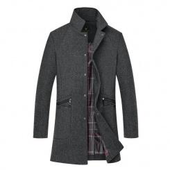 新款男式韩版修身风衣中长款 男士毛呢大衣外套男式