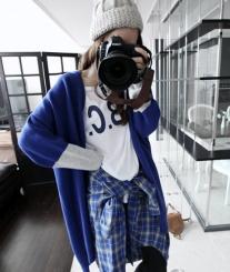 秋冬韩版拼色开衫毛衣 外套时尚显瘦宽松长袖针织外套