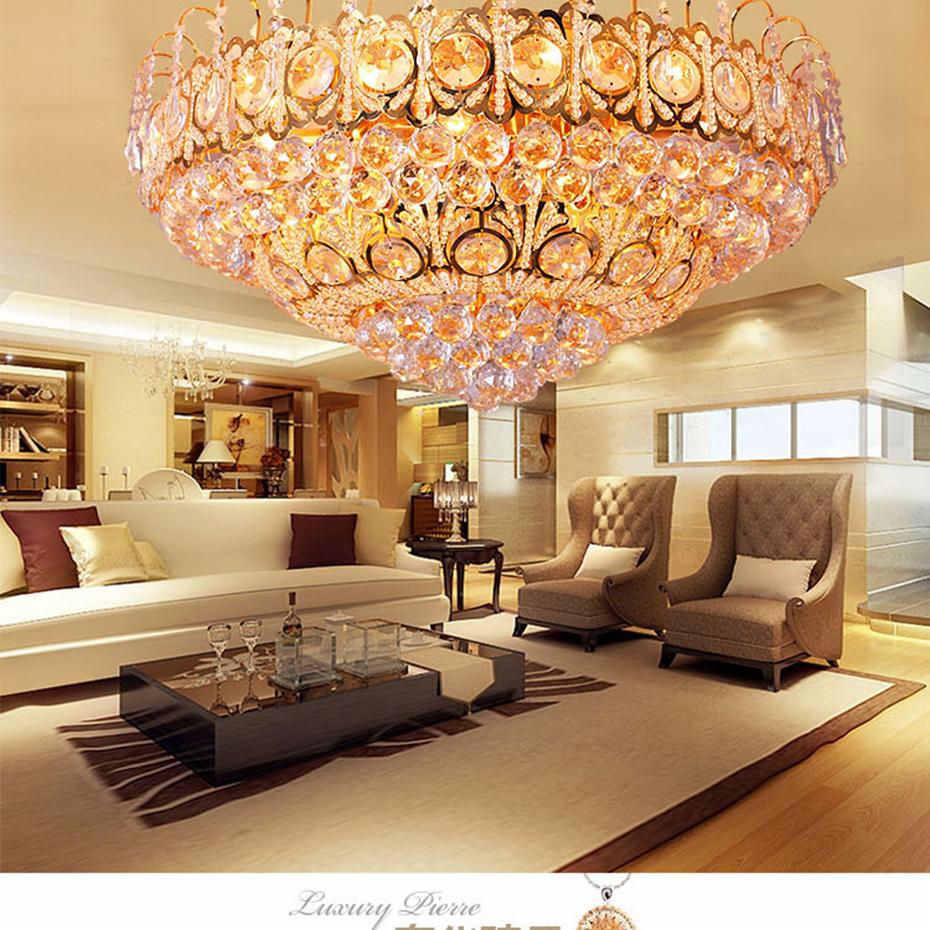 奢华水晶灯客厅灯吸顶灯金黄色led灯具