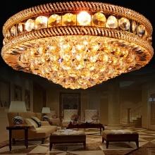欧式圆形金色LED水晶吸顶灯客厅餐厅卧室灯酒店水晶吸顶灯
