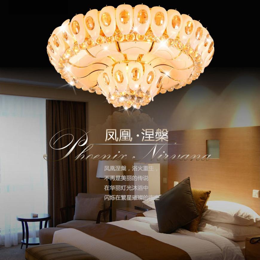 欧式圆形金黄色led水晶吸顶灯客厅餐厅卧室灯酒店水晶