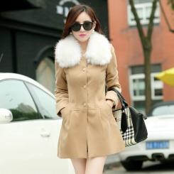 秋冬新款韩版女装中长款毛呢外套送毛领