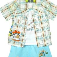 供应933飞机三件套针织纯棉 儿童服装