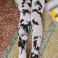 供应黑色瘦腿彩色油漆泼墨复古连裤袜 丝袜 厚款不透肉