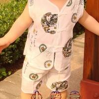 供应中国风 夏季经典棉缎 宝宝女童唐装短袖二件套装