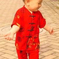 供应男宝宝满月生日儿童立领短袖棉演出服唐装