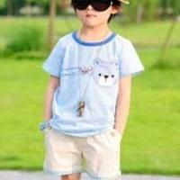 供应精品品牌 韩版外贸童装 可爱布贴小熊套装