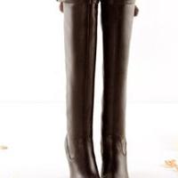 供应批发2010冬季新款毛球欧美真皮简约明星款高筒女靴