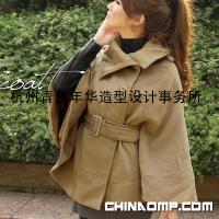 韩版SZ风格 秋冬女装翻领斗篷披肩 毛呢外套