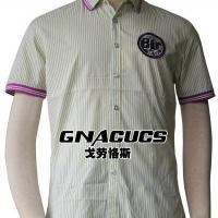 供应戈劳恪斯新款休闲绿条短袖衬衫 男式短袖衬衣