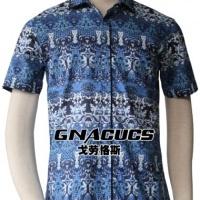 供应戈劳恪斯时尚韩版修身蓝花衬衫