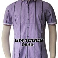 供应戈劳恪斯男式韩版衬衫 时尚修身紫格子衬衫