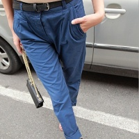 VIVI欧美复古大牌撞色彩色宽松中腰小脚长裤