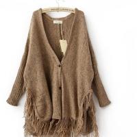 供应2102秋冬新款欧美潮款流苏羊毛大衣中长款加厚外套