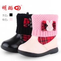 正品明璐女童短靴绒棉皮鞋宝宝水钻高帮毛线粉红黑色