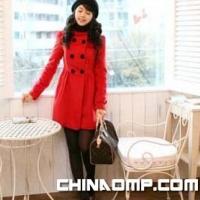 韩版秋冬款休闲优雅女装立领双排扣羊绒呢大衣8057