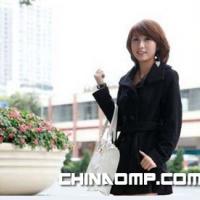 最新秋冬韩版时尚女装加厚羊毛双排扣毛呢大衣8086