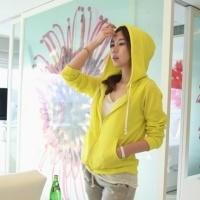 韩国女装秋装荧光色运动风休闲带帽拉链百搭外套
