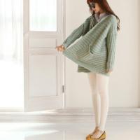 女装薄荷绿秋冬蝙蝠袖毛线针织