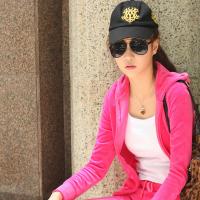 2012秋装韩版PINK烫钻天鹅绒运动套装女款