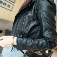 秋季女装韩版新款翻领短款朋克简约修身小机车皮衣女式小外套