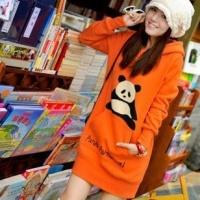 秋冬新款女装 熊猫 休闲学生装 抓绒 卫衣外套