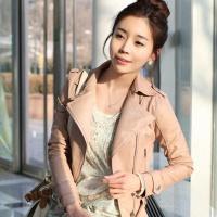 韩版女式皮衣 OL通勤 女装外套 斜拉链 短款PU皮衣外套