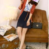 日韩女装2012夏季新款复古高腰松紧雪纺半身裙 配皮带